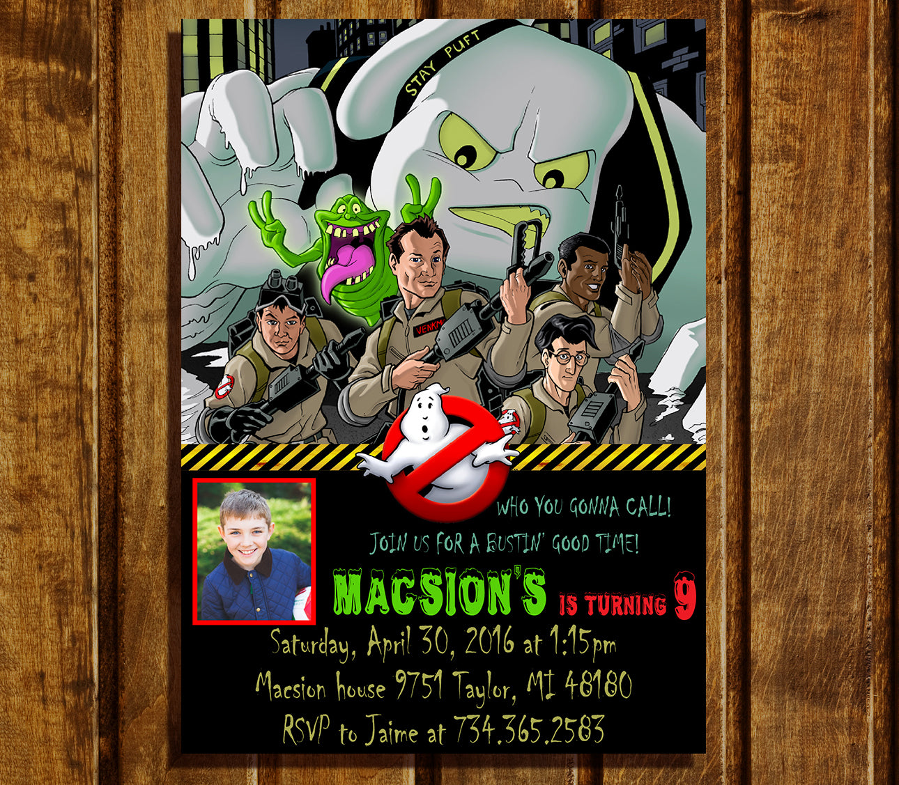 Digital Ghostbusters Birthday Invitation Ghostbusters Birthday