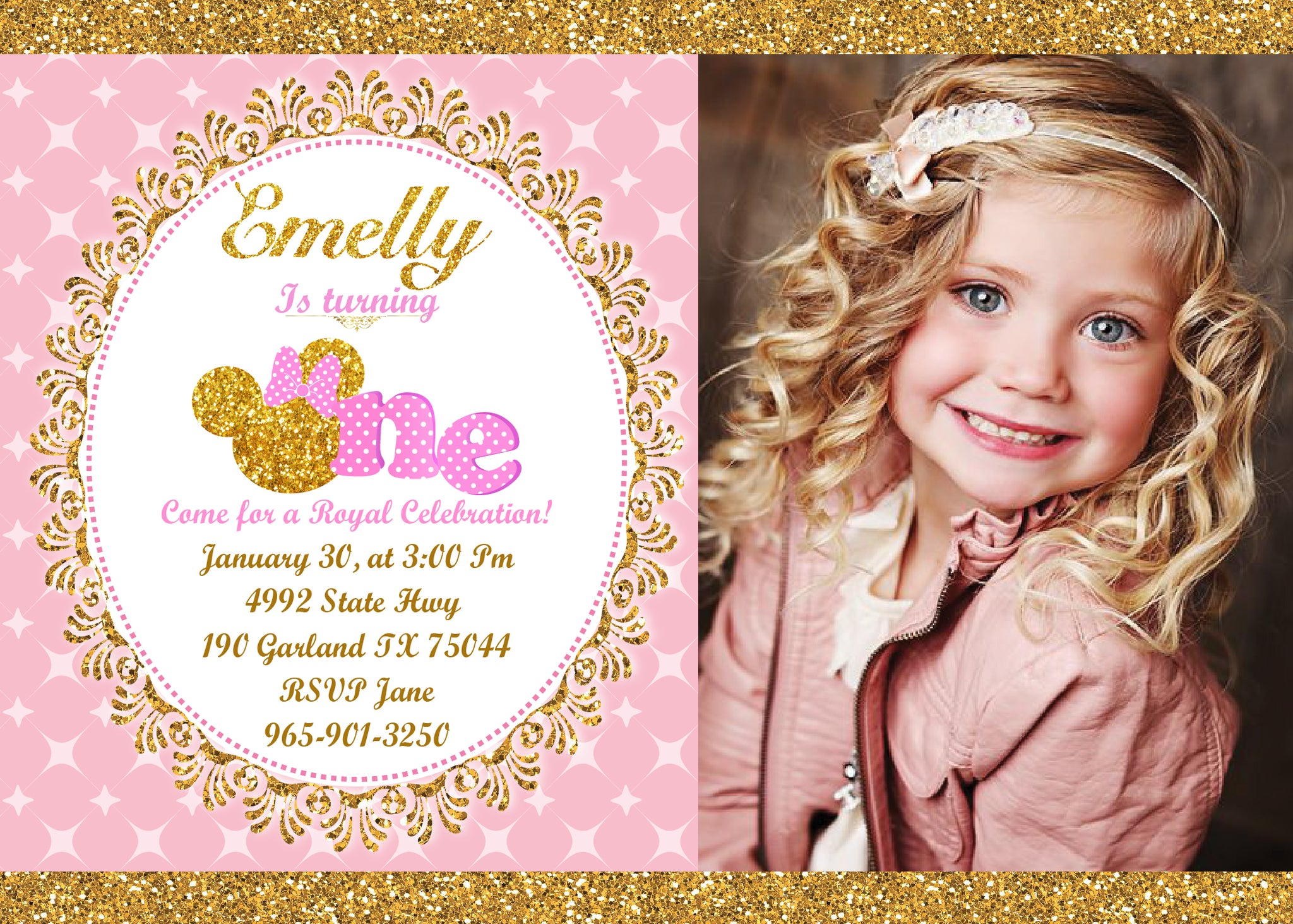 Pink and gold minnie mouse 1st birthday invitation first birthday pink and gold minnie mouse 1st birthday invitation first birthday invite girls polk dots filmwisefo