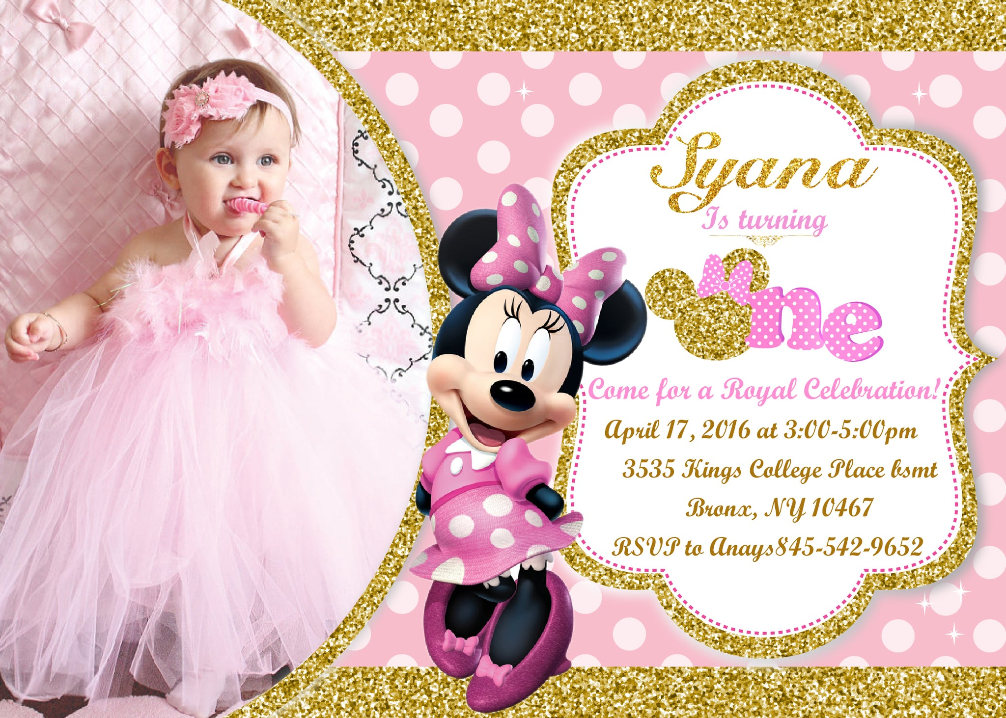 pink and gold minnie mouse 1st birthday invitation first birthday