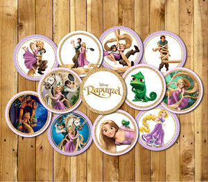Rapunzel Cupcake Toppers Printable Topper Party Supplies Cake