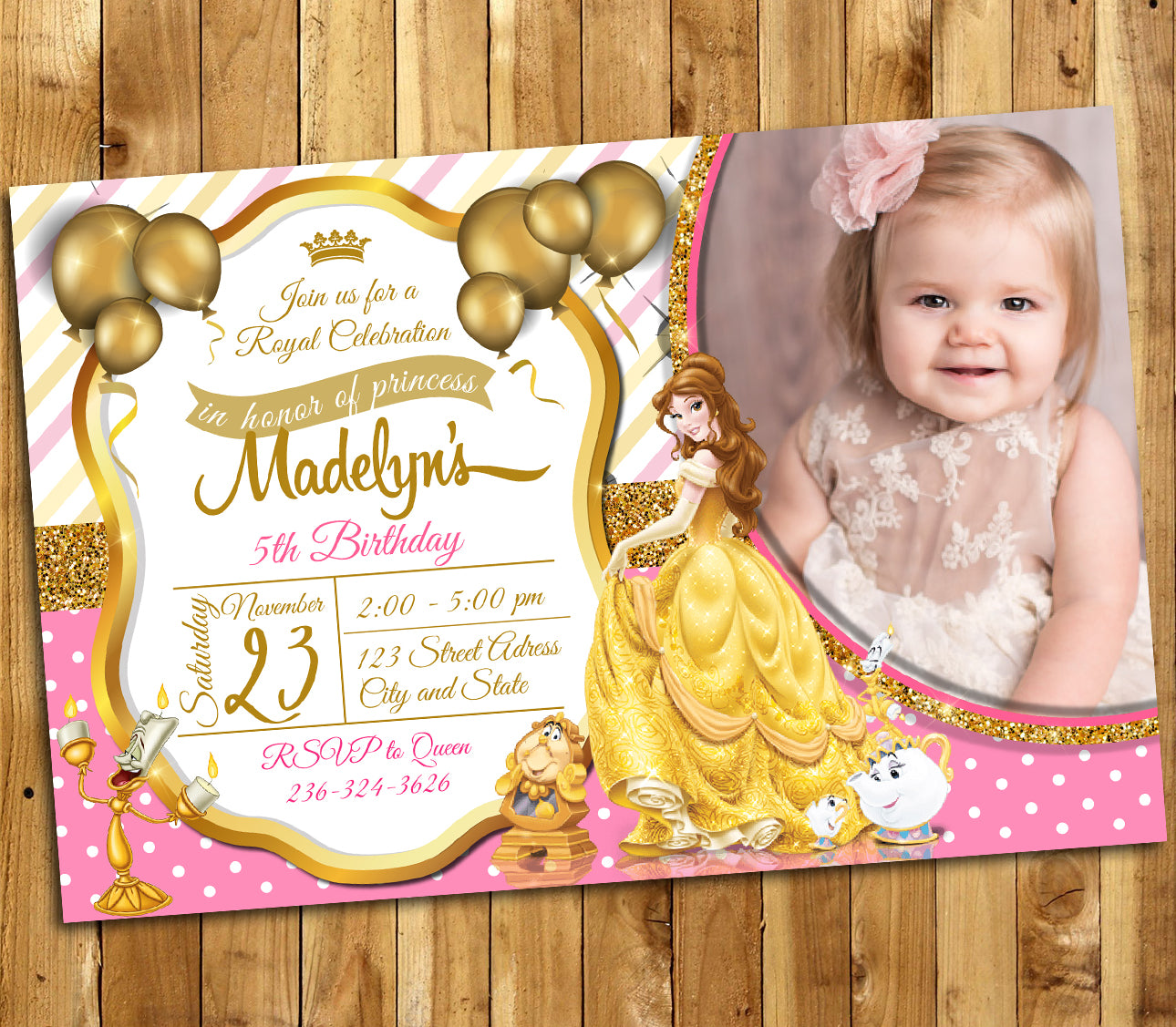 Beauty and the Beast Invitation, Beauty and the Beast Birthday ...