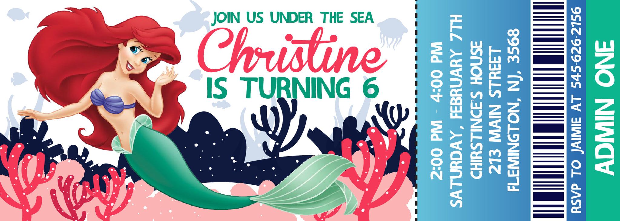 Little Mermaid InvitationAriel Birthday InvitationsLittle Invitation BirthdayAriel Party