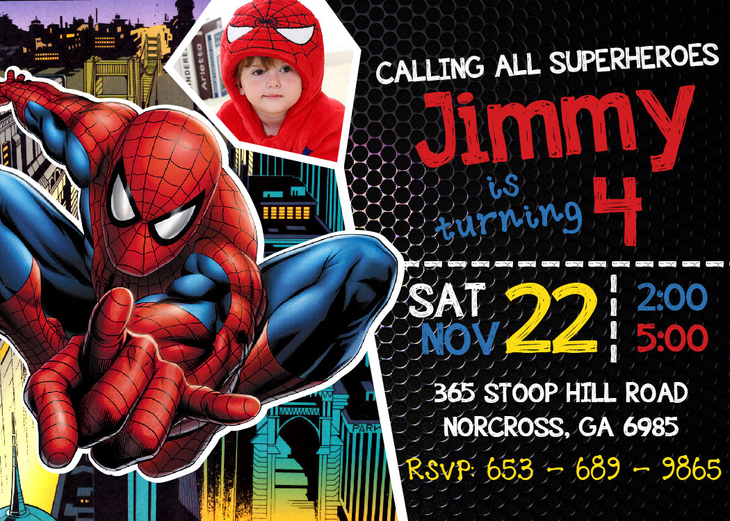 Spider Man Invitation Printable, Spider Man Birthday Party ...