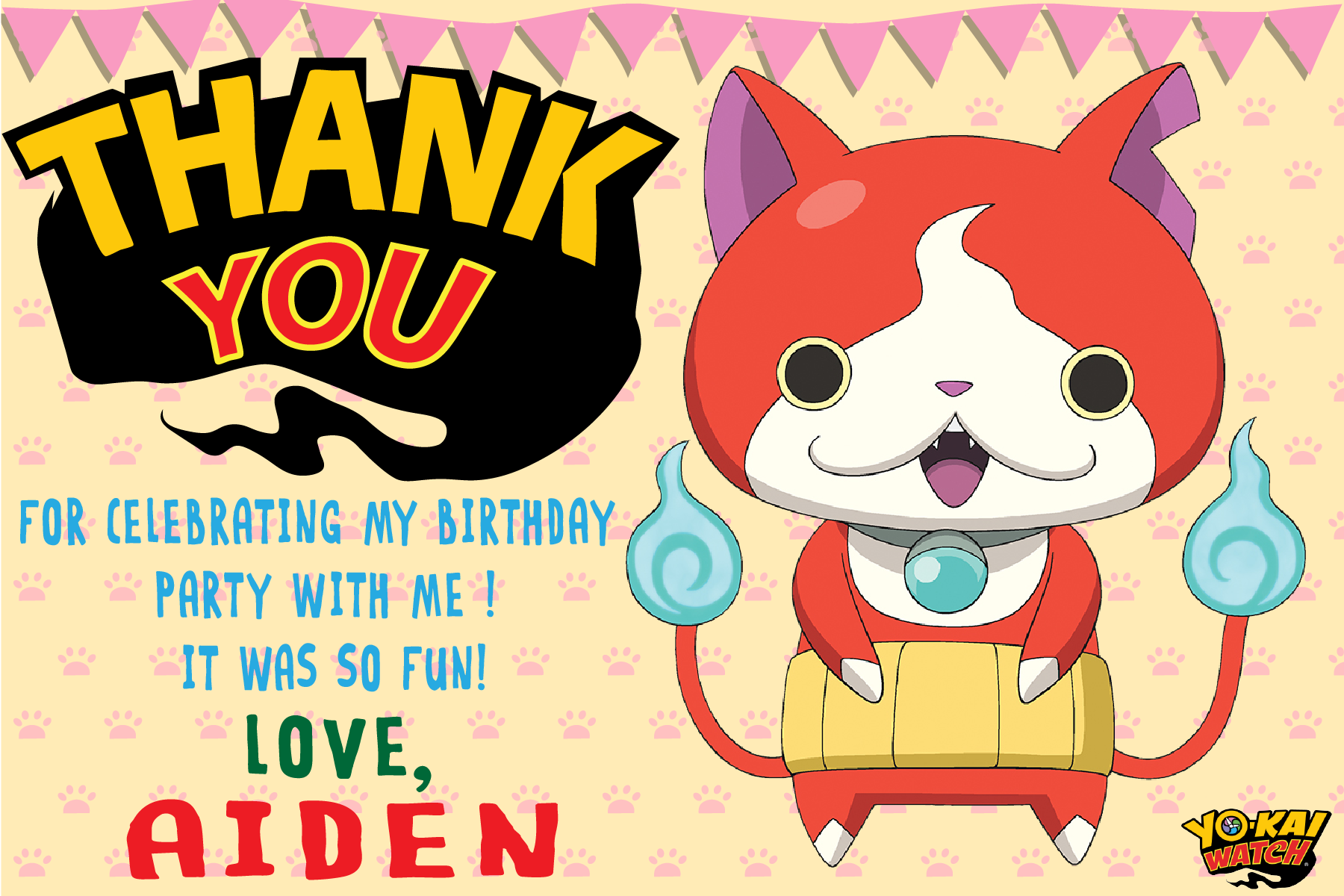 Yo-kai watch party invitation, Yo kai watch Birthday party, Yo kai ...