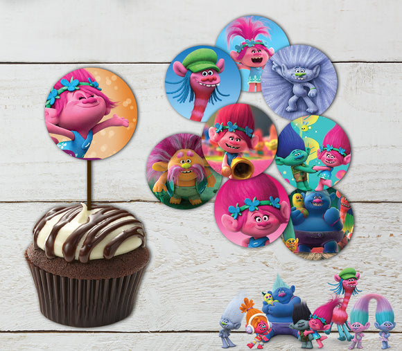 Trolls Cupcake Toppers Printable Topper Party Supplies Cake