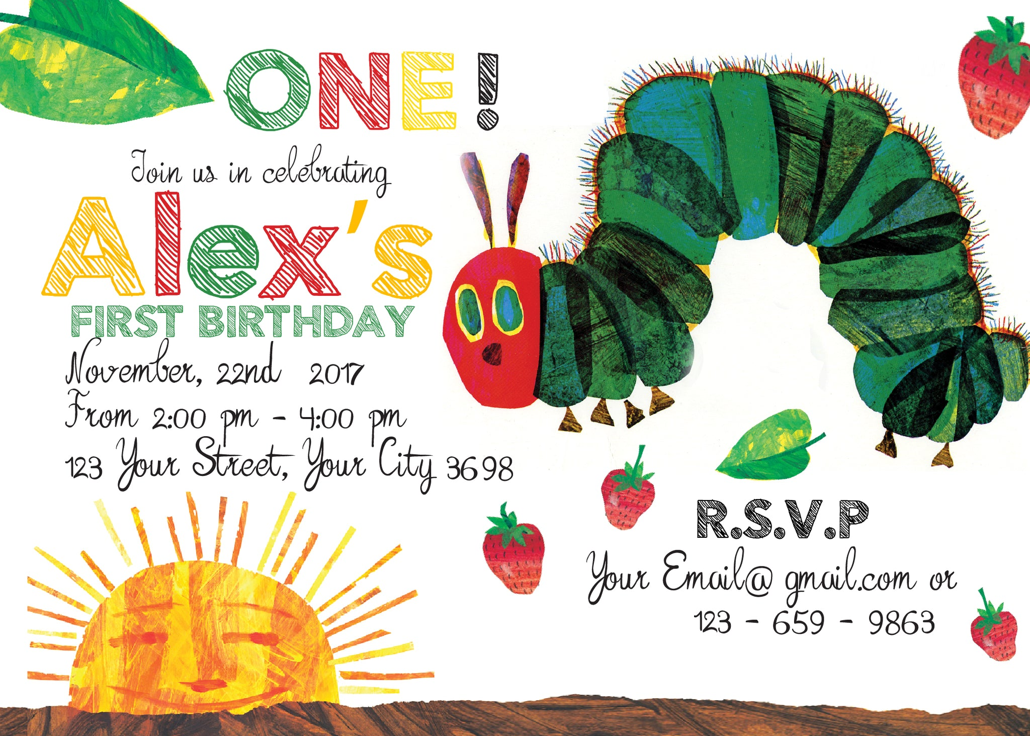 Very Hungry Caterpillar Invitation, Very Hungry Caterpillar Birthday ...