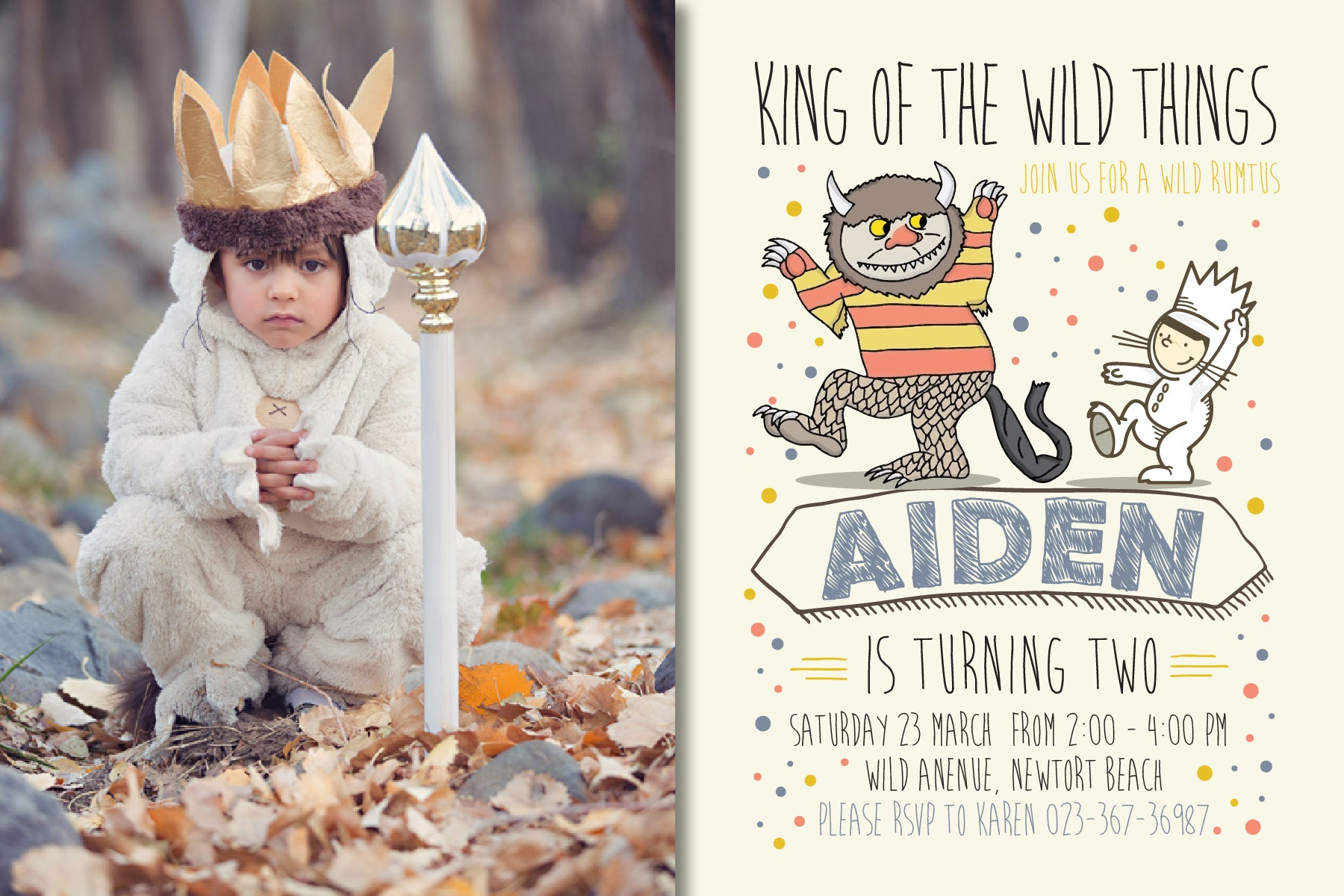 Where The Wild Things Are Birthday Party Invitation WH2 CardAnZ