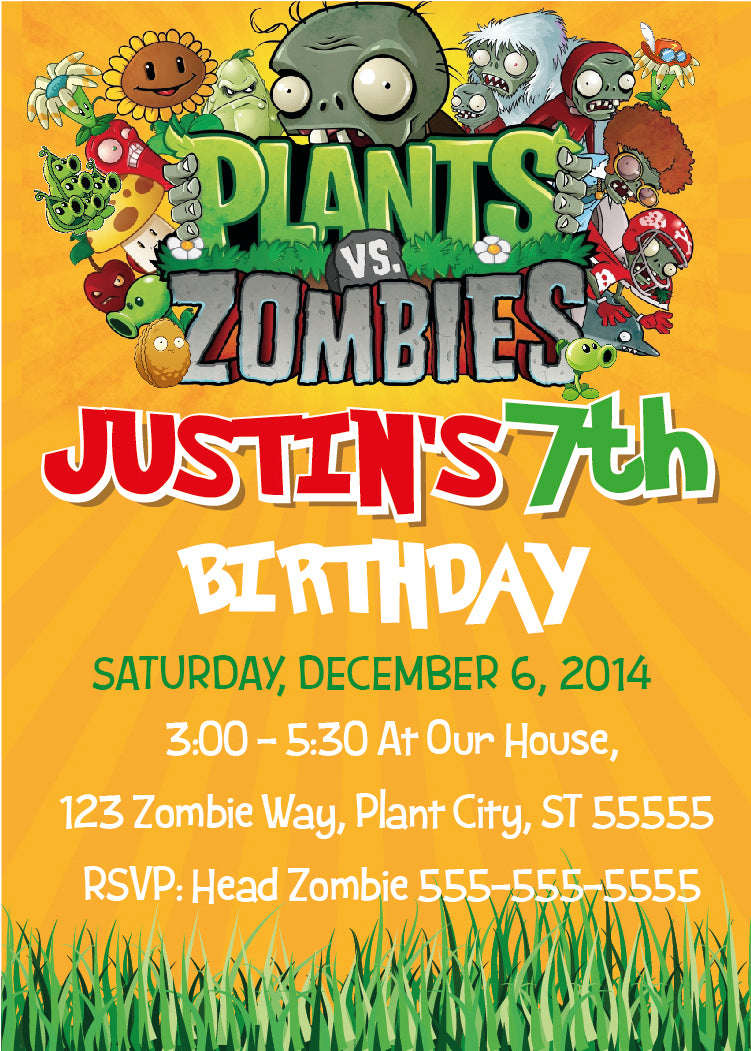 Plants vs zombies invitation plants vs zombies birthday party plants vs zombies invitation plants vs zombies birthday party invites zombies zo1 stopboris Gallery