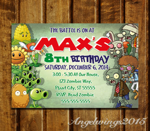 Plants vs zombies invitation plants vs zombies birthday party plants vs zombies invitation plants vs zombies birthday party invites zombies zo3 stopboris Gallery