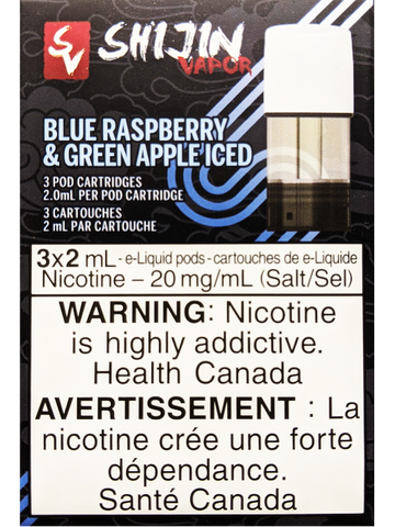 STLTH SHIJIN VAPOR BLUE RASPBERRY GREEN APPLE ICED PODS CANADA