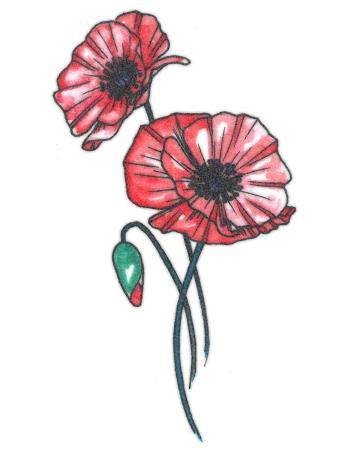 Watercolour Poppy Flower Temporary Tattoo