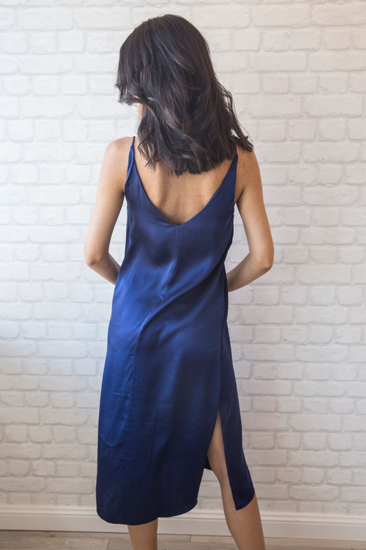 Blair Silk Slip Dress - Navy