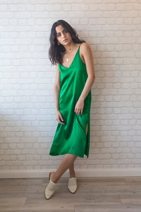 Blair Silk Slip Dress - Emerald