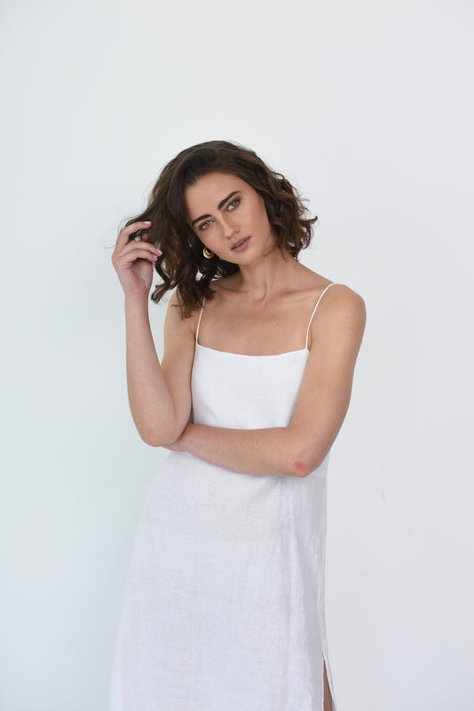 RUBY LINEN SLIP DRESS - WHITE