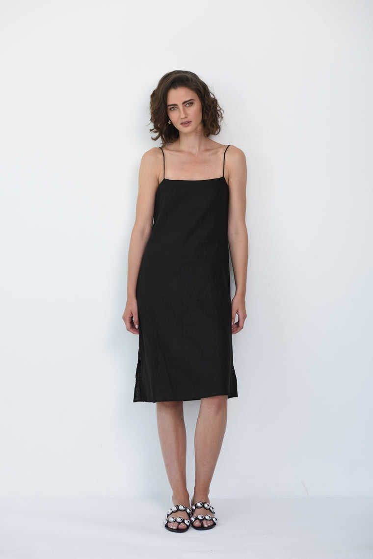 RUBY LINEN SLIP DRESS - BLACK