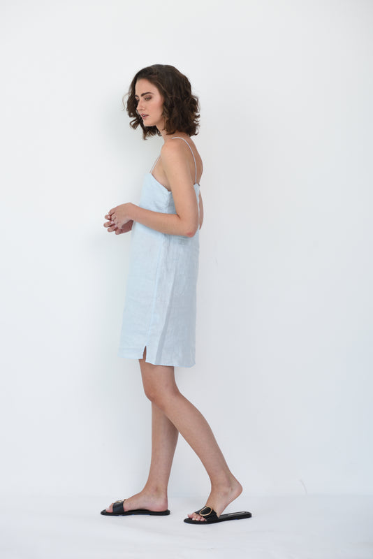 MILA LINEN DRESS - ICE BLUE