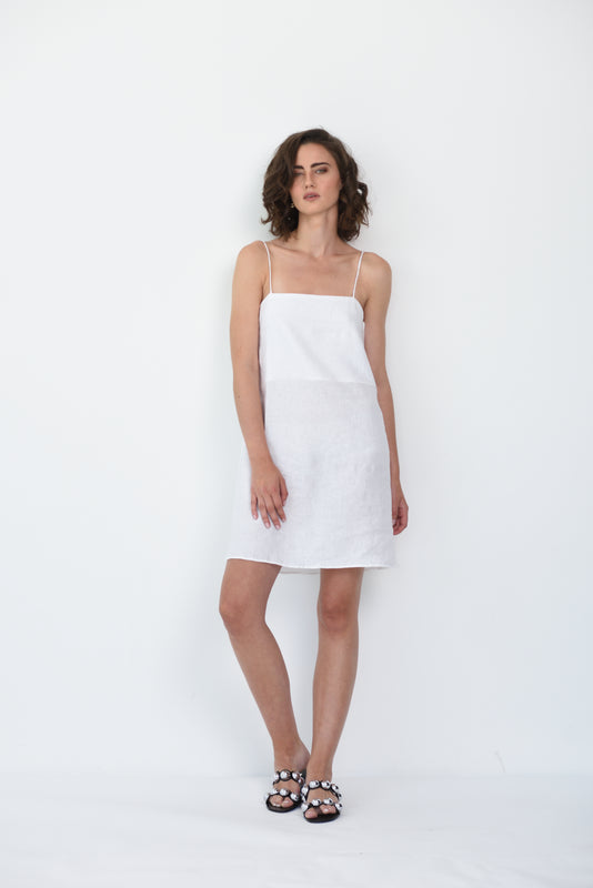 MILA LINEN DRESS - WHITE