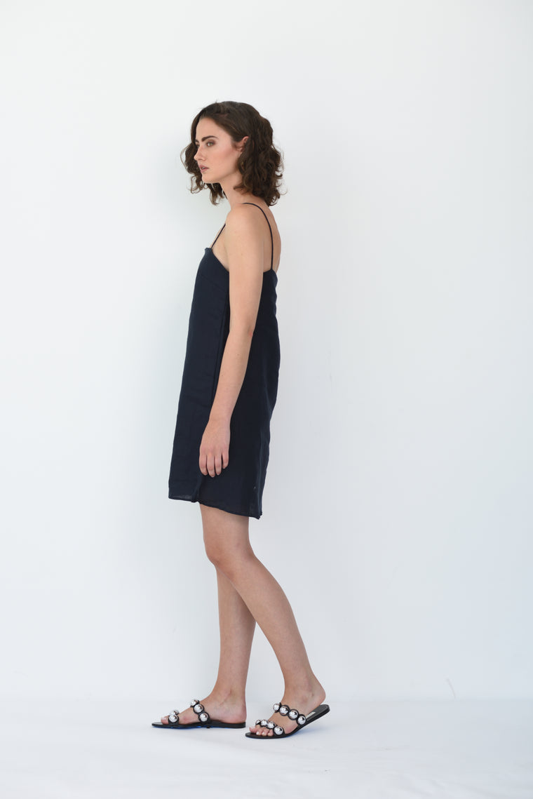 MILA LINEN DRESS - NAVY