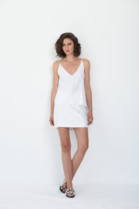 LATITIA LINEN CAMI - WHITE