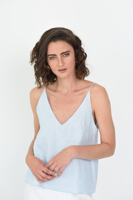 LATITIA LINEN CAMI - ICE BLUE