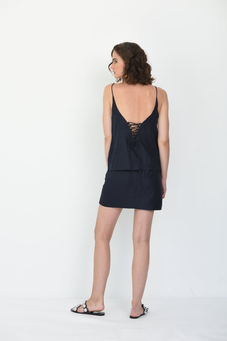 LATITIA LINEN CAMI - NAVY