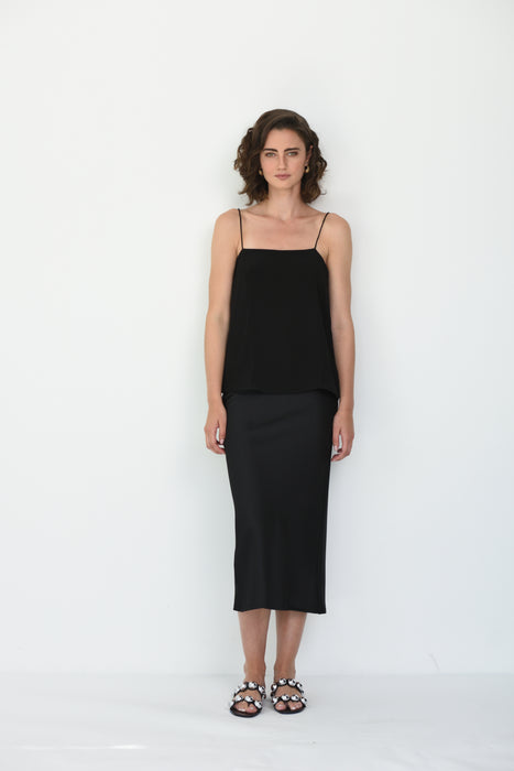 ILONA SILK SQUARE NECK CAMI - BLACK