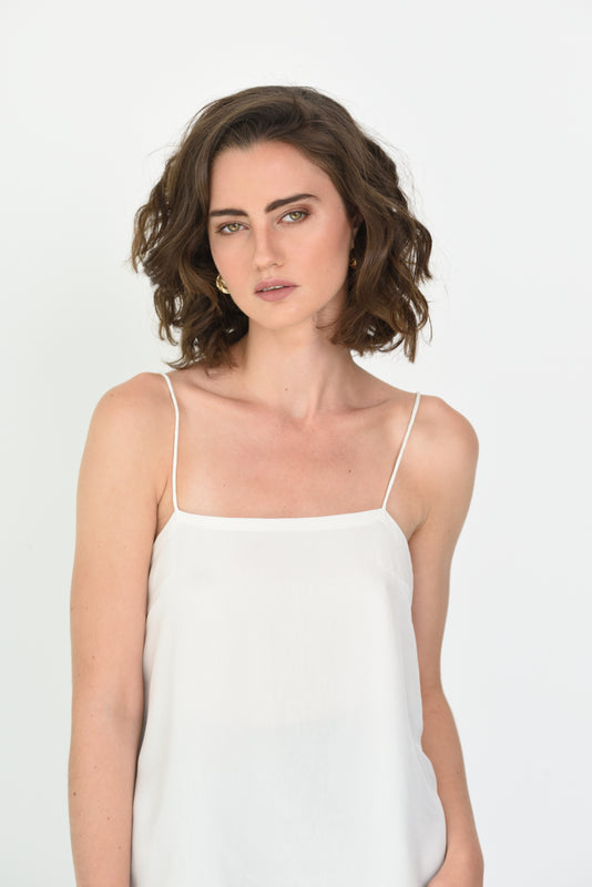 ILONA SILK SQAURE NECK CAMI - WHITE