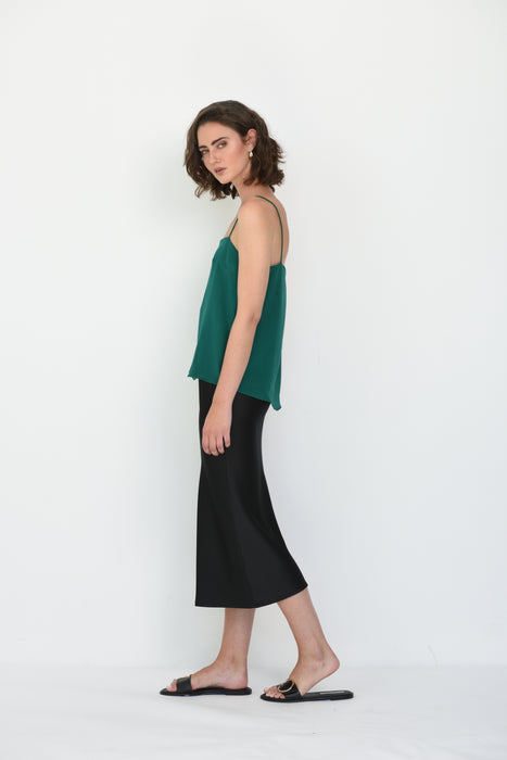 ILONA SILK SQUARE NECK CAMI - EMERALD