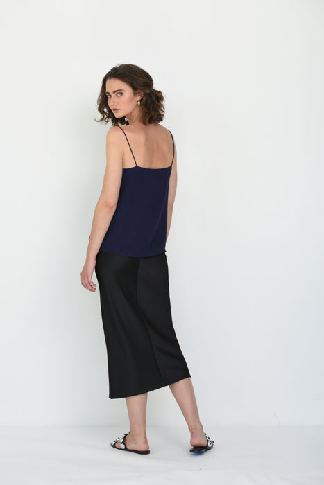 ILONA SQUARE NECK SILK CAMI - NAVY