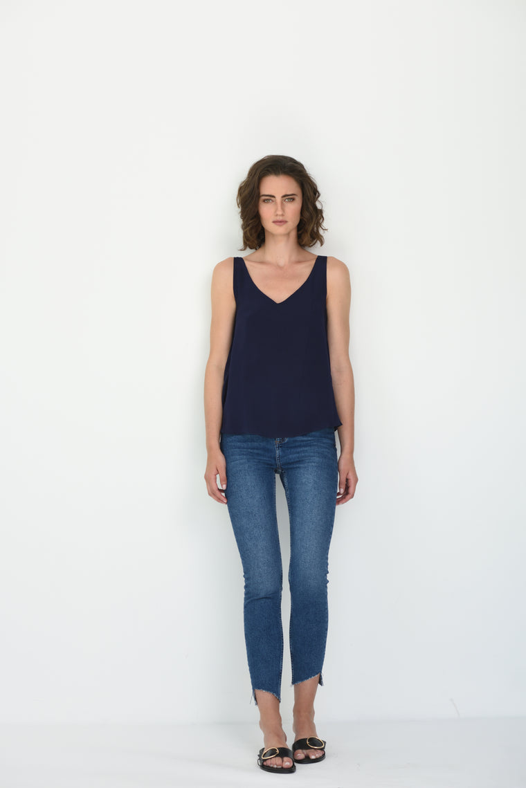 LIV SILK V NECK CAMI - NAVY