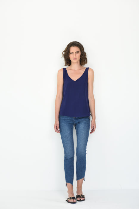 LIV SILK V NECK CAMI - PURPLE NAVY