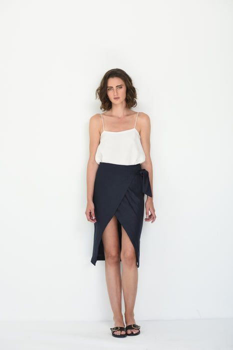 MARINA LINEN WRAP SKIRT - NAVY