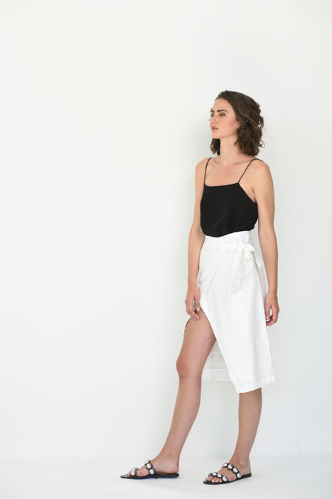MARINA LINEN WRAP SKIRT - WHITE
