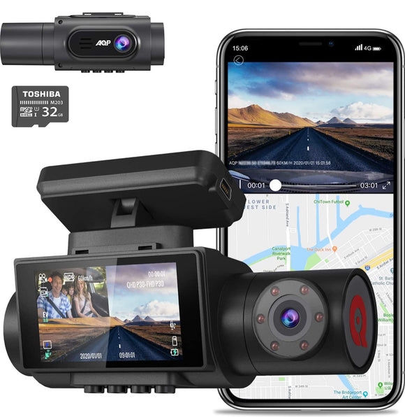 4K Dual Dash Cam, 3840x2160P Ultra HD Front and 1080P Inside Car Dash Camera, Built-in GPS WiFi Dual Sony Sensors IR Night Vision Parking Monitor G-Sensor 32G SD Card for Cars Truck Taxi