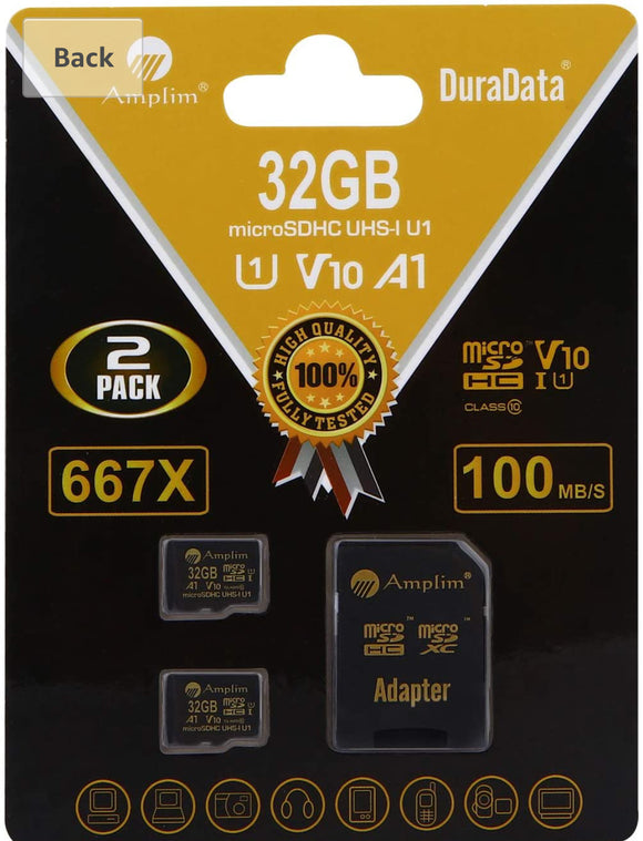 2 Pack 32GB Micro SD SDHC Memory Card Plus Adapter (Class 10