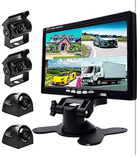 9V-24V Car Backup Camera Kit, 7 Inch HD Quad Split Monitor + 4 x Waterproof IR Night Vision Front Rear Side View Cameras and 33ft AV Cables, Mirror/Normal Image