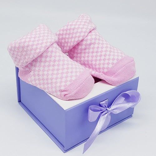 Newborn Baby Socks - Pink Gingham