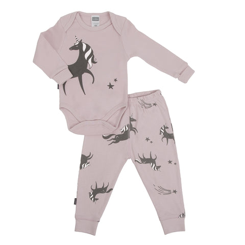 Wild & Free Pink Unicorn Long Sleeve Bodysuit & Pant Set