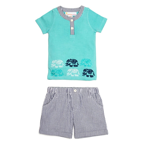Elephant Turquoise Stripe 2 Piece Set