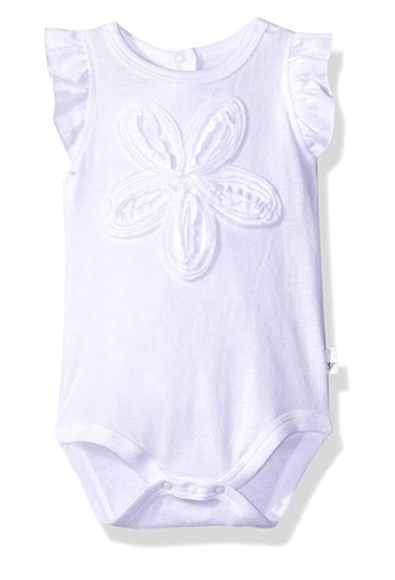 Flutter Sleeve Flower Bodysuit- White