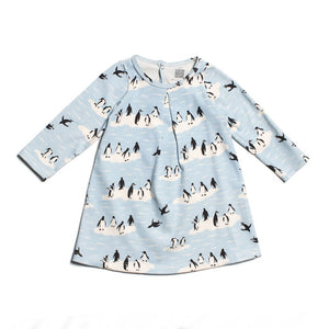 Penguins Winter Blue Aspen Baby Dress