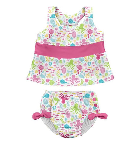 Two Piece Tankini w/ Snap Absorbent Diaper