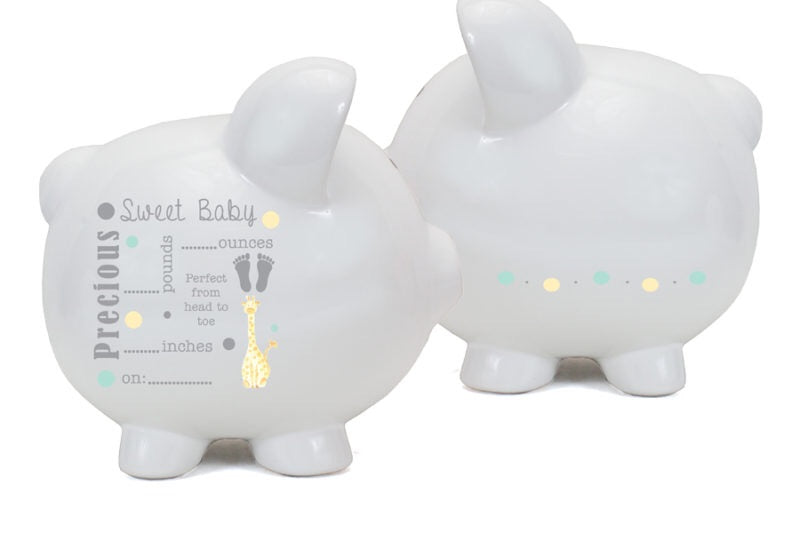 Baby Announcement Piggy Bank-Gray