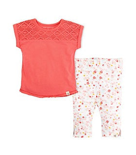 Crochet Yoke Dolman Tee & Capri Legging Set