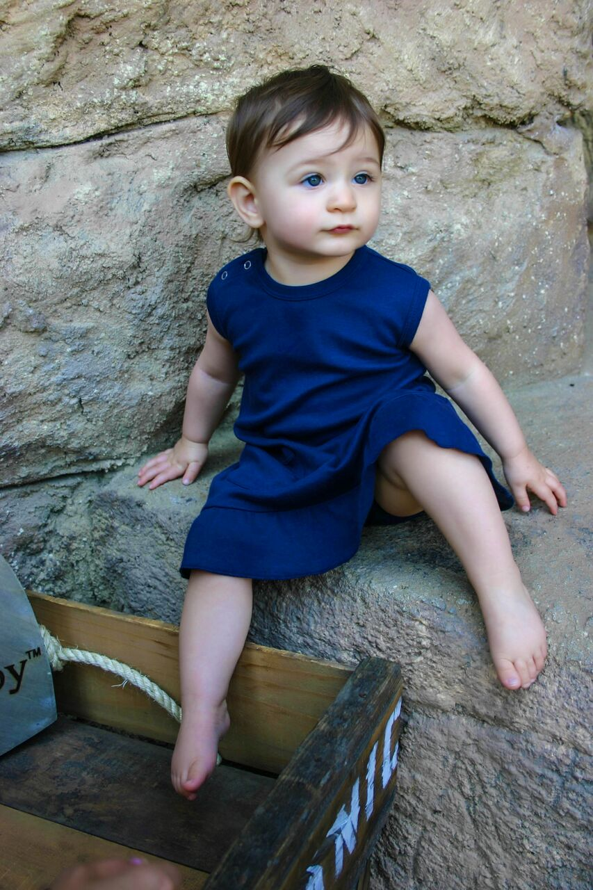 Babydoll Dress With Bloomers- Navy Blue