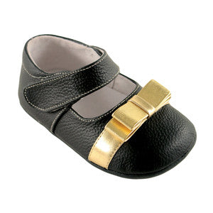 Leather Mary Jane- Black/Gold