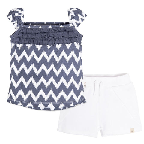 Chevron Ruffle Tee and Knit Terry Short Set