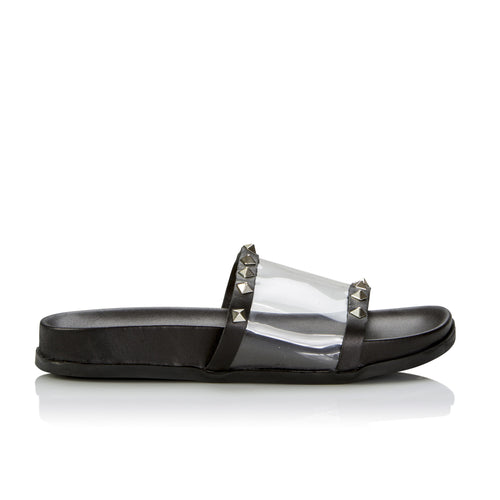Sempre Di Vinylite Studded Slide - Booty Shoes