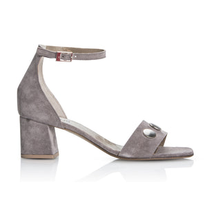 Progetto Grey Silver Button  Sandal - Booty Shoes