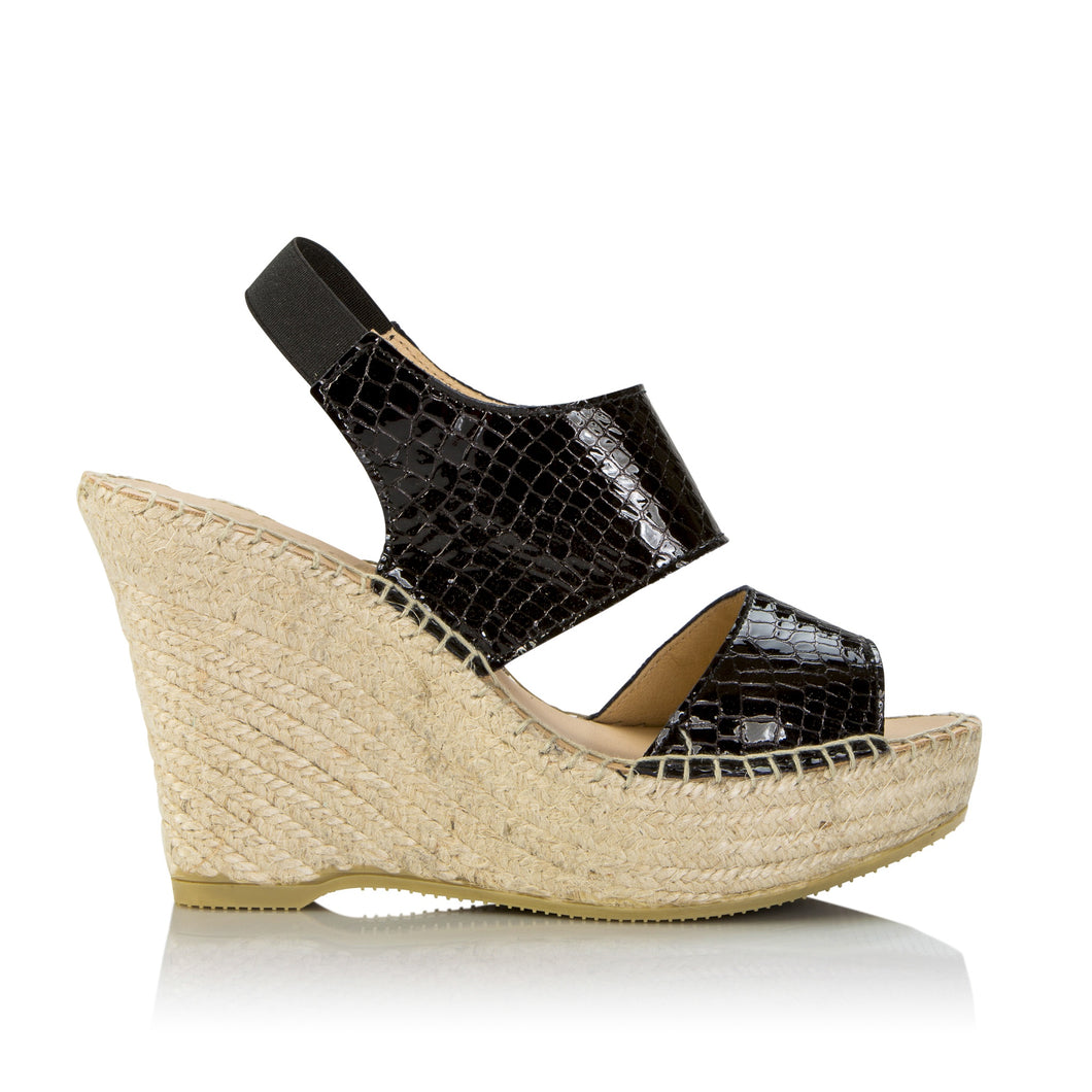 Chouchou Black Leather Espadrille - Booty Shoes